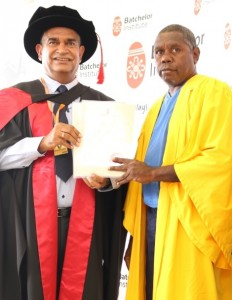 Dr Stephen Hagan with a graduate at Darwin Correctional Centre